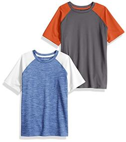 Amazon Essentials Boys' 2-Pack Short-Sleeve Raglan Active Te