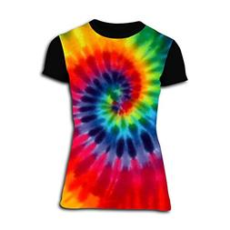 BTRJOI Womens Magic River Handcrafted Tie Dye 3D Print T-Shi