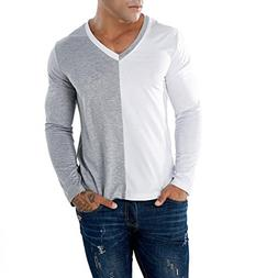 Clearance Sale! Wintialy Men's Casual Patchwork Slim Long Sl