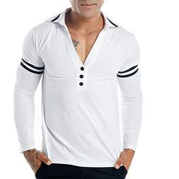Clearance Sale! Wintialy Men's Casual V Neck Slim Long Sleev