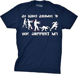 Crazy Dog T-Shirts Mens If Zombies Chase Us I'm Tripping You