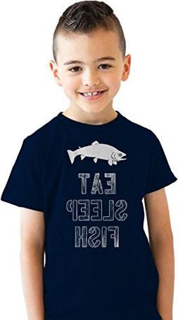 Crazy Dog T-Shirts Youth Eat Sleep Fish T Shirt Funny Fishin