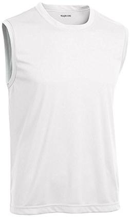 DRIEQUIP Mens Sleeveless Moisture Wicking Muscle T-Shirt-Whi