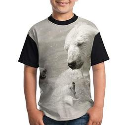 ENGJDHEH Teenager T Shirt Bears Family Teen Short Sleeve Bla