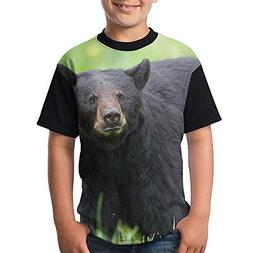 ENGJDHEH Teenager T Shirt Black Bears Teen Short Sleeve Runn