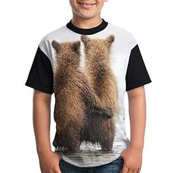 ENGJDHEH Teenager T Shirt Funny Bears Teen Short Sleeve Blac