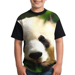 ENGJDHEH Teenager T Shirt Panda Bear Teen Short Sleeve Black