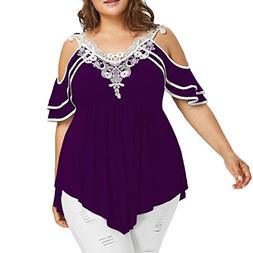 FEITONG Fashion Womens Plus Size Layered Lace Appliques Stra