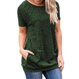 FEITONG Women Casual Short Sleeve Round Neck Tunics Loose T