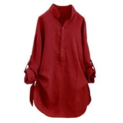 FEITONG Women Cotton Solid Stand Collar Shirt Casual Tunic T