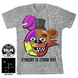 Five Nights At Freddy's Split Face Boys Youth T-shirt L