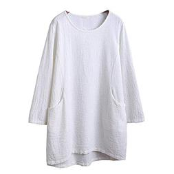 HGWXX7 Womens Tops 3/4 Sleeve Casual Cotton Linen Solid Tuni