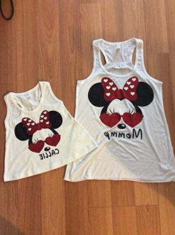 Handmade Disney mommy/daughter matching shirts Mickey Mouse,