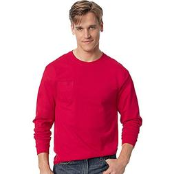 Hanes Men's TAGLESS Long-Sleeve T-Shirt with Pocket_Deep Red