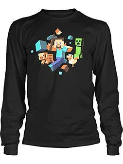 JINX Minecraft Big Boys' Glow-In-The-Dark Run Away! Long-Sle