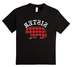 Kids Red Plaid Sister Bear Matching Buffalo Family Pajama T-