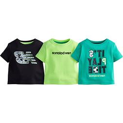 New Balance Baby Boys' 3 Pack Graphic Tee, Jade/Lime/Black,