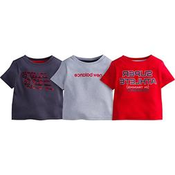 New Balance Baby Boys' 3 Pack Graphic Tee, Red/Silver/Gray,