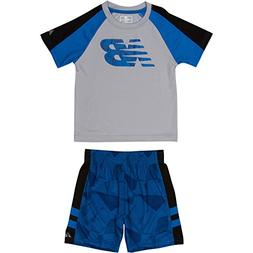 New Balance Baby Boys' Athletic Tee and Short Set, Silver/Bl