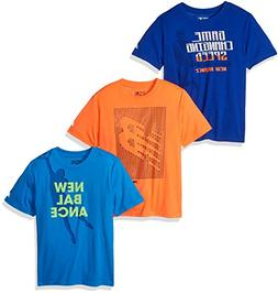 New Balance Big Boys' 3 Pack Graphic Tee, Royal/Bolt/Dynomit