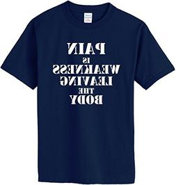 PAIN IS WEAKNESS LEAVING THE BODY T-Shirt~Navy Blue~Youth-SM