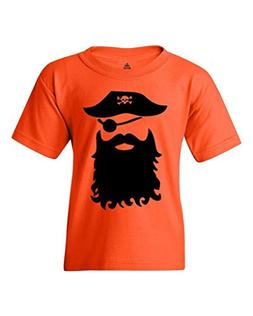 Shop4Ever Pirate with Beard Black Youth's T-Shirt Jolly Roge