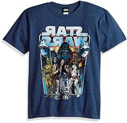 Star Wars Big Boys' Classic Battle Logo Graphic Tee, Navy He