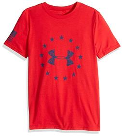 Under Armour Boys' Freedom Logo T-Shirt,Red /Blackout Navy,