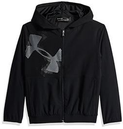 Under Armour Boys Jersey Lined Woven Jacket, Black /Black, Y
