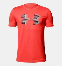 Under Armour Boys' Tech Big Logo Solid T-Shirt, Neon Coral /