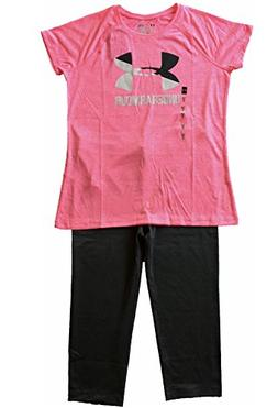 Under Armour Girls Youth 2 Piece Set Tech Tee and Capri Pant