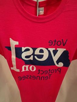 Vote YES ON 1 Pink T-Shirt Size 2X, YES ON 1 TENNESSEE, Tenn