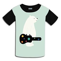Yangjio Tshirt Bear With Guitar Print Xl Short Sleeve For Yo