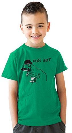 Youth Tea Rex T-Shirt Funny Dinosaur Gentleman Monicle T-Rex