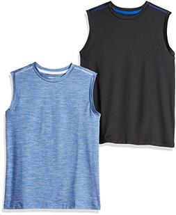 Amazon Essentials Boys' 2-Pack Active Muscle Tank, Bright Bl
