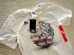 Addidas Youth Boy's T shirt Soccer Graphic White Size 6