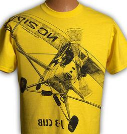 Airplane T-shirt with HUGE Piper J-3 Cub print on front and