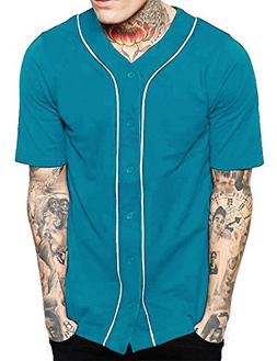 Hat and Beyond Mens Baseball Button Down Jersey Hipster Hip