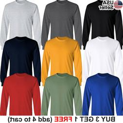 Basic Cotton T-Shirt Long Sleeve Plain Crew Neck Solid Men Y