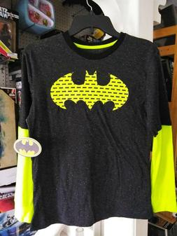 BATMAN BAT LOGO 2-TONE Long Sleeve T-Shirt Boy's Youth Size