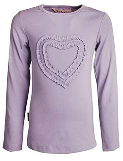 Ipuang Big Girls' Heart-Shaped Long Sleeve T-Shirt 14 Lavend