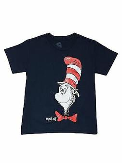 Boys Youth Cat in the Hat T-Shirt Navy Blue Distressed