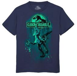 Boys Youth Large 14 Jurassic World Blue S/S Tee Top T-Shirt