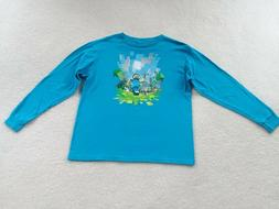 Boys Youth Teal Minecraft Long Sleeve T-Shirt, size YXL 18/2