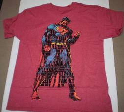 Brand New DC Comics Boys Youth Superman Printed Red Heather