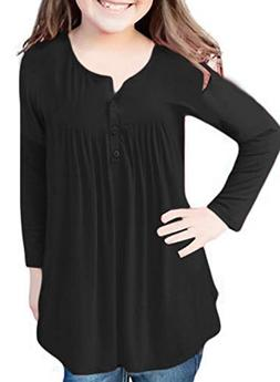 GOSOPIN Girls Button Neck Tunic Long Sleeve Blouse T Shirt M