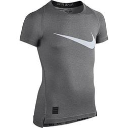 NIKE Kids Boy's Cool HBR Compression S/S Youth  Carbon Heath