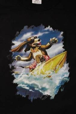 dog surfer puppy ocean funny novelty graphic t-shirt tee boa