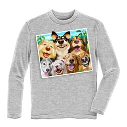 Dawhud Direct Dogs Selfie Youth Longsleeve Tee Shirt Large 1