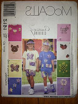 Girls Tshirt Shorts Summer Vacation Visor Purse Pattern 2191